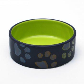 Миска керамическая лапы, 13,2 х 5,4 см, зеленая