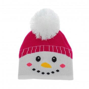 Шапка детская снеговик белая бомбошка, р-р 50-56