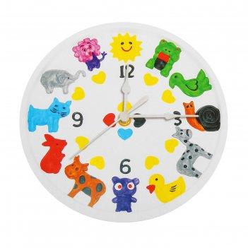Роспись по гипсу, серия создай часы животные, краски 8 цветов по 2 мл