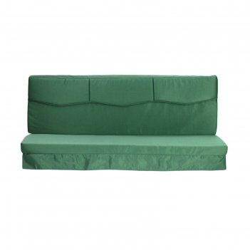 Матрас для садовых качелей волна + подлокотники 170, цвет зеленый