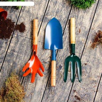 Набор садового инструмента, 3 предмета: совок, рыхлитель, вилка, длина 28