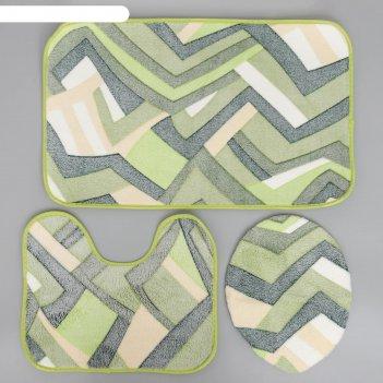Набор ковриков для ванны и туалета «геометрия», 3 шт: 35x39, 40x50, 50x80