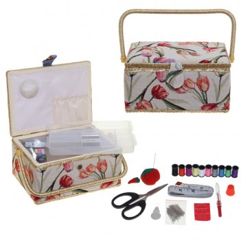 Шкатулка для рукоделия с подносом и набором для шитья, l30,5...