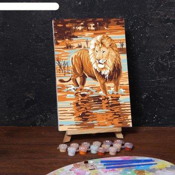 Картина по номерам на холсте с подрамником «царь зверей» 20х30 см