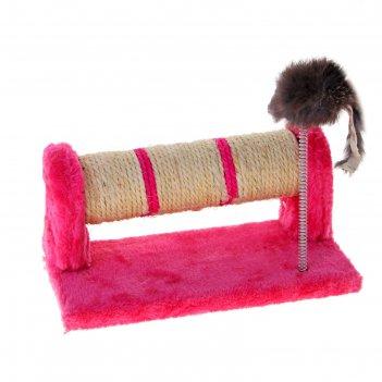 Комплекс для кошек когтеточка-валик из сизаля и мышь на пружине, 33 х 13 х