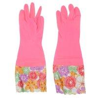 Перчатки хозяйственные утеплённые с высокой манжетой, 40 см, pvc,