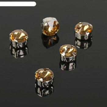 Стразы в цапах (набор 5 шт), 8*8мм, цвет коричневый в серебре