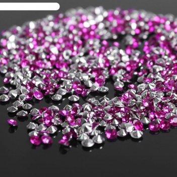 Стразы (набор 10грамм), 3мм, цвет ярко-розовый №34