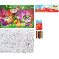 Пазл-раскраска 2 в 1 веселые джунгли с восковыми карандашами