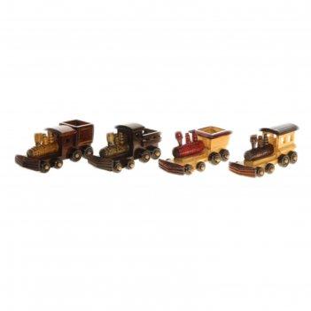 Сувенир ретро паровоз мини, цвета микс в пакете