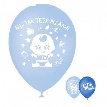 Шар воздушный латексный 12 малышок, с др, картинки микс, 5 шт