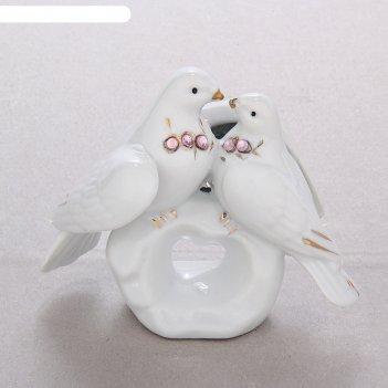 Сувенир два голубя на камушке со стразами