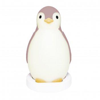 Ночник детский беспроводной «пингвинёнок пэм», с колонкой и будильником, ц