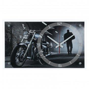 Часы настенные, серия: транспорт, мотоцикл в ночи, 36х60 см