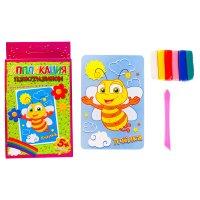 Аппликация пластилином пчелка, 6 цветов пластилина по 7 гр