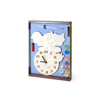 Часы с циферблатом под роспись слоник с красками