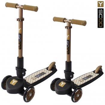 Самокат трехколесный y-scoo trio maxi 120 gold