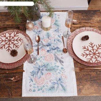 Дорожка на стол этель christmas flowers 30х70 см, 100% хл, саржа 190 гр/м2