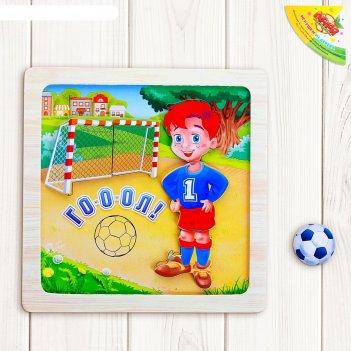 Конструктор магнитный в деревянной рамке веселый футбол, 6 элементов