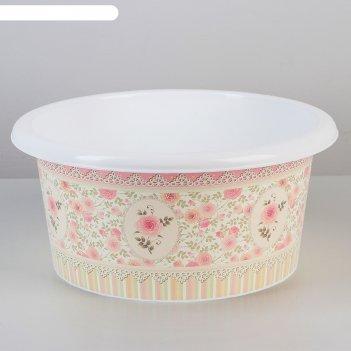 Таз 10л с декором чайная роза