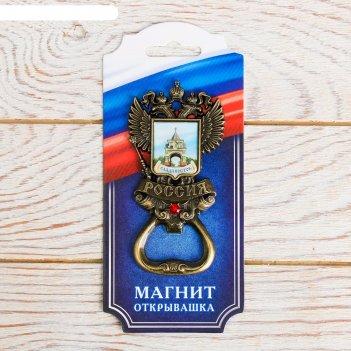 Магнит-открывашка «герб» (владивосток - триумфальная арка) латунь, 5 х 9,7