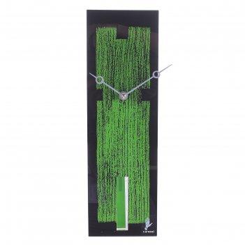 Часы настенные текстура черно-зеленые