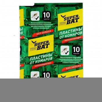 Пластины от комаров super bat, зелёные, 10 шт