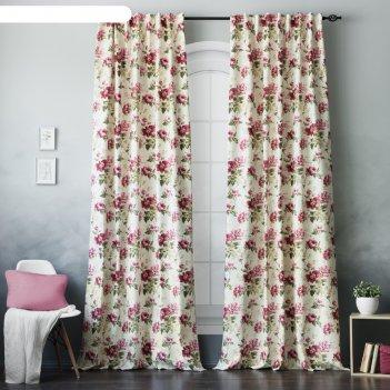 Комплект штор «вилла», размер 145 x 270 см- 2 шт, подхват-2 шт,  цвет розо