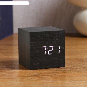 Часы настольные  электронные процион, белые цифры 6.5х6.5 см