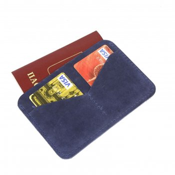 Обложка-футляр для паспорта, 2 кармана для карт, синий крэйзи хорс