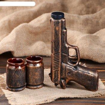 Штоф с рюмками пистолет набор 3 предмета, бронза 0,3 л