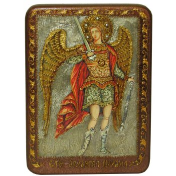 Подарочная икона архангел михаил на мореном дубе