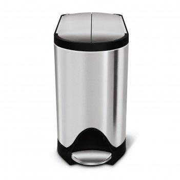 Бак для мусора simpelehuman, 10 л, с педалью, прямоугольный, крышка-бабочк