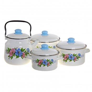 Набор посуды виола, 4 предмета: 3 кастрюли 2 л, 3 л, 4 л с крышками, чайни