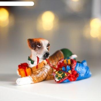 Фигурка собака с подарками 10x5,5x5,5 см