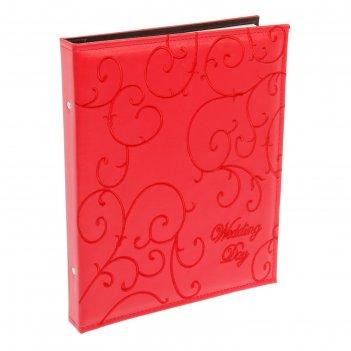 Фотоальбом 200 фото 20х15 см свадебный красный, в коробке 28х34х4 см