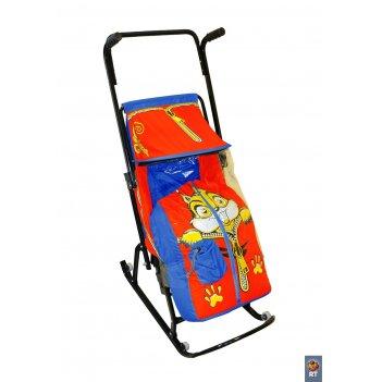 Санки-коляска снегурочка 4-р бельчонок с 4 колесиками синий-красный