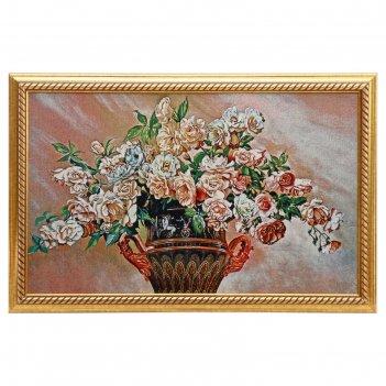 Гобеленовая картина розы в вазе с ручками  55*85 см