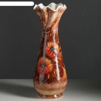 Ваза напольная форма вьюн декор №5 оранжевые цветы, коричневая