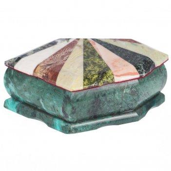 Шкатулка ракушка с мозаикой креноид змеевик офиокальцит мрамор 190х115х65