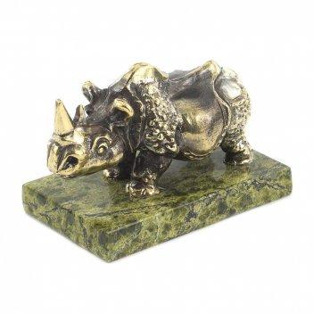 Статуэтка носорог бронза змеевик 70х45х50 мм 320 гр.