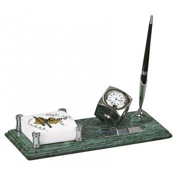 Настольный набор: держатель для блок-листов из меди, часы из меди, на мрам