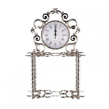 Часы настольные серебрянные розаперла