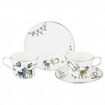 Чайный набор на 2 персоны котики, 4 пр. 230 мл.