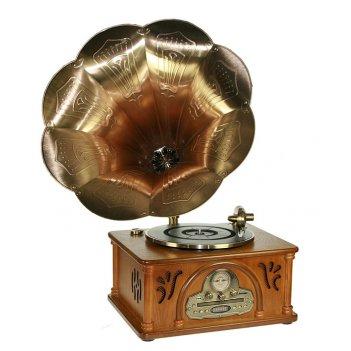 Музыкальный центр-ретро граммофон: винил, am/fm, cd, mp3, us