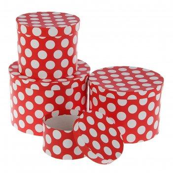 Набор коробок круглых 4в1 большой белый горох на красном 23*23*16 - 13,5*1