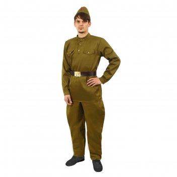 Костюм мужской военный (гимнастёрка, брюки-галифе, ремень, пилотка), разме