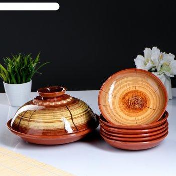 Набор блинный: 1 шт блинница, 6 шт тарелок