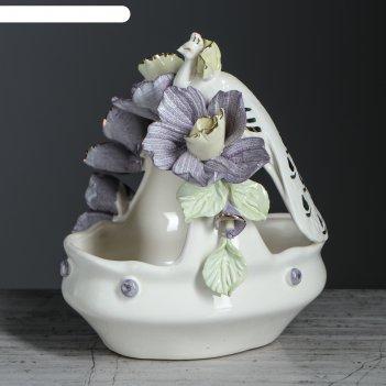 Конфетница эсмеральда, лепка, цветы, 14 см, микс