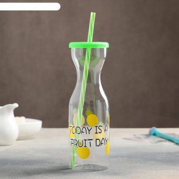 Бутылка 450 мл цитрусовый бум, с трубочкой, цвета микс
